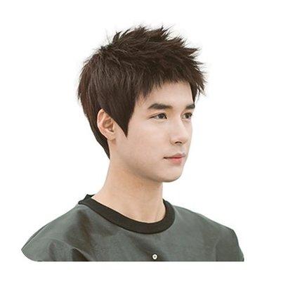 整頂 假髮 真髮絲-簡潔短直髮帥氣時尚男假髮2色73vb13[獨家進口][米蘭精品]
