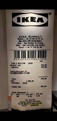 IKEA x Off-White OW 聯名 發票地毯 收據地毯 短毛地毯 Virgil Abloh 黑白色 單一尺寸