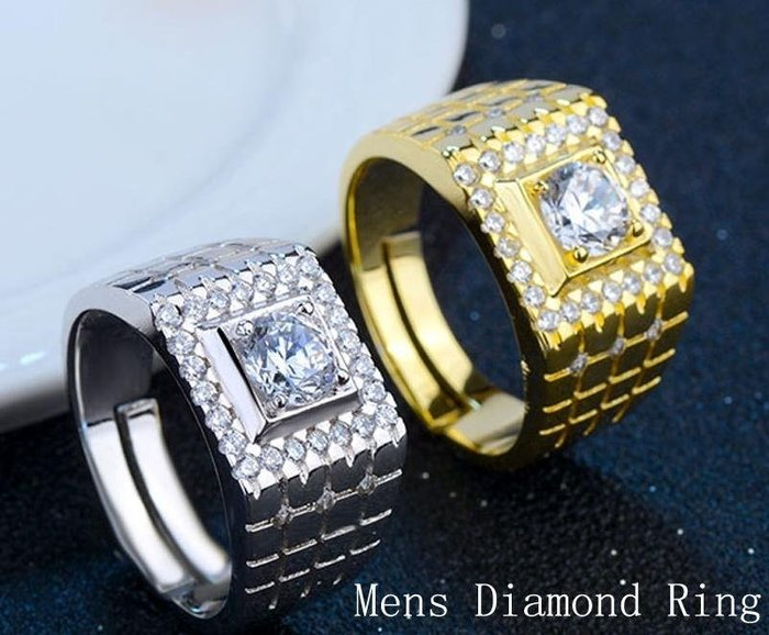 日韓時尚白金方格滿鑽男戒鋯石水鑽可調式開口戒指情人節禮物生日禮物買一送二