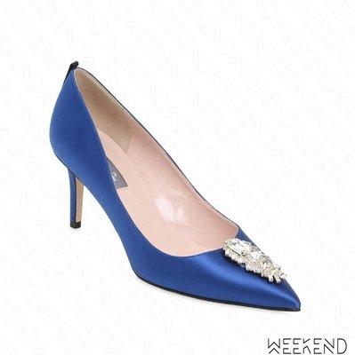 【WEEKEND】 Sarah Jessica Parker SJP Tempest 緞面 鑲鑽 高跟鞋 藍色