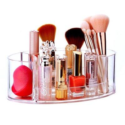 化妝刷收納筒梳妝台彩妝眉筆粉刷收納盒塑料透明多功能筆筒名片盒    全館免運