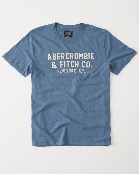 Maple麋鹿小舖 Abercrombie&Fitch *AF 藍色電繡字母短T * ( 現貨XXL號 )