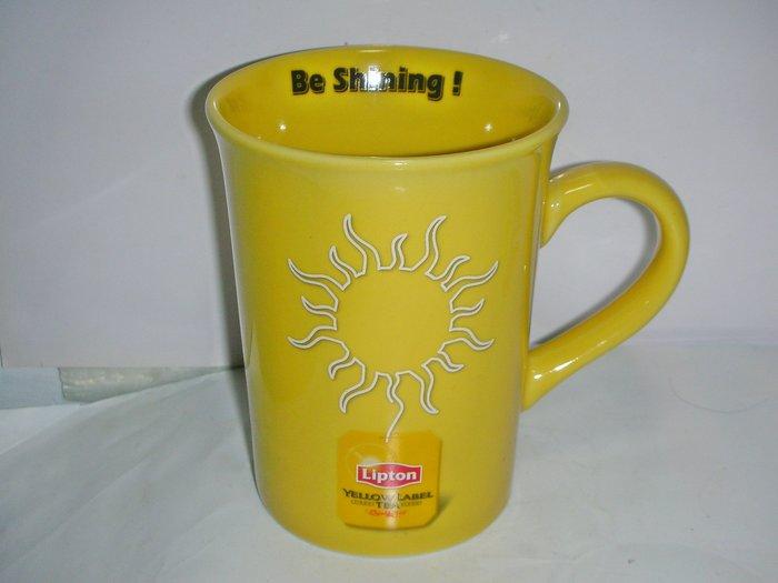 aaL皮1商旋.(經典企業馬克杯)全新Lipton立頓-Be Shining黃色限量發行馬克杯!/大1/-P