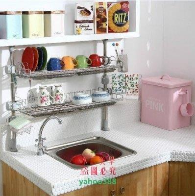 美學219廚房置物架不銹鋼碗架瀝水架廚房調味品架雙層收納架3838❖94154