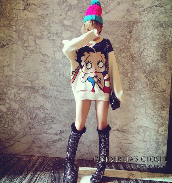 《仙杜瑞拉的衣櫃》現貨 s0757 貝蒂娃娃 美式立體刺繡 大尺寸白色毛衣