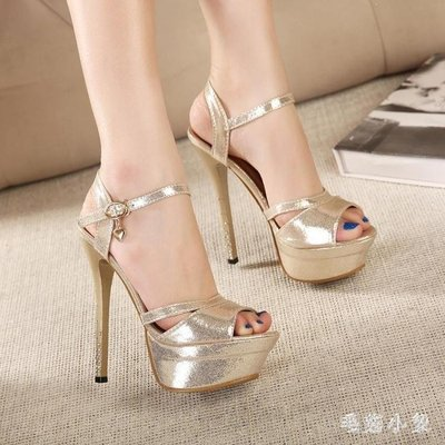 ZIHOPE 夜店恨天高 魚嘴涼鞋女夏季水鉆公主輕熟15CM超高跟鞋銀色34碼ZI812