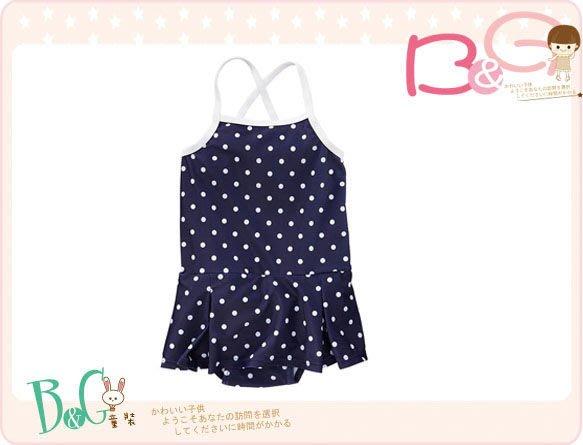 【B& G童裝】正品美國進口OLD NAVY 點點圖樣裙襬型藍色連身泳裝3yrs