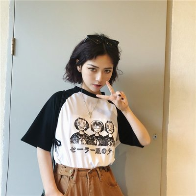 2018夏季新款 學院風印花美少女拼色黑白T恤短袖tee