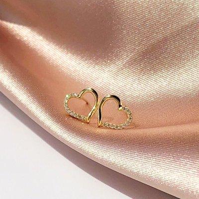 卡哇伊~Pressing Love925純銀14K金耳釘女防過敏愛心氣質耳環通體銀耳飾