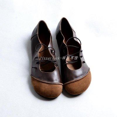 litterluck-韓國專櫃2019春款奶奶鞋平底復古文藝森系娃娃鞋女圓頭平底簡約軟皮丑萌鞋