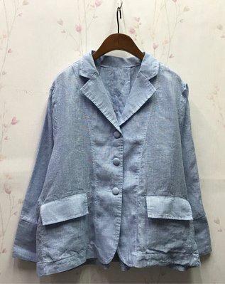 POPCORN優雅氣質千鳥格麻棉西裝外套