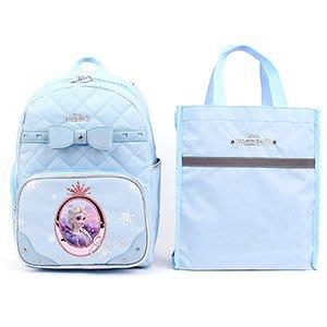 ♀高麗妹♀韓國 Disney FROZEN II 冰雪奇緣2 兒童雙肩護背.透氣書包/背包+提袋組(A款-藍)預購