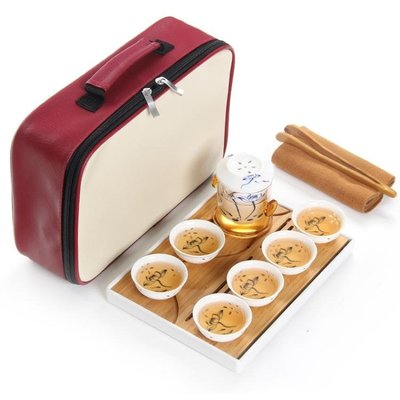 紅茶旅行茶具戶外車載便攜式青花玲瓏瓷功夫茶盤套裝配旅游包 LR3525TW
