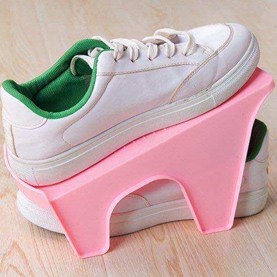 現貨 鞋架 塑料 收納架 鞋櫃 鞋子 整理 雙層 防滑 可疊放 鞋收納 分層 鞋托 ❃彩虹小舖❃【A012】雙層鞋架
