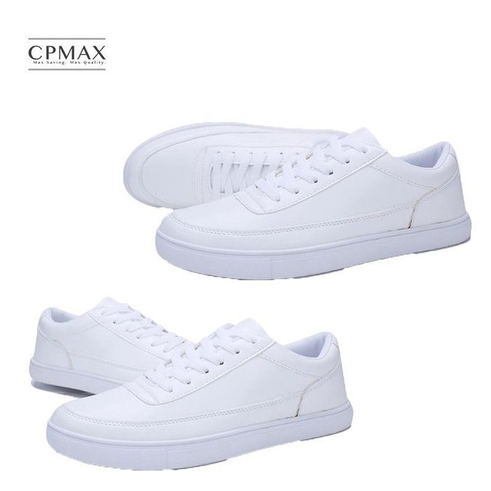 CPMAX 春 夏季新款 學生 小白鞋 男士 休閒 運動 繫帶 皮面 男鞋子 學生 跑步 旅遊 滑板鞋 S72