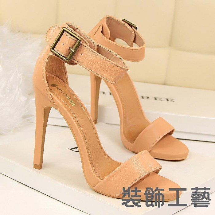 1408-2復古夏季女鞋高跟鞋性感超高跟防水臺一字帶皮帶扣涼鞋