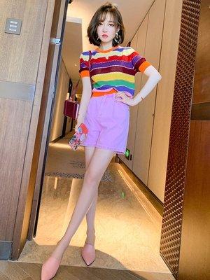『 TANG KOREA韓國女裝』彩虹條紋針織衫+高腰闊腿短褲套裝