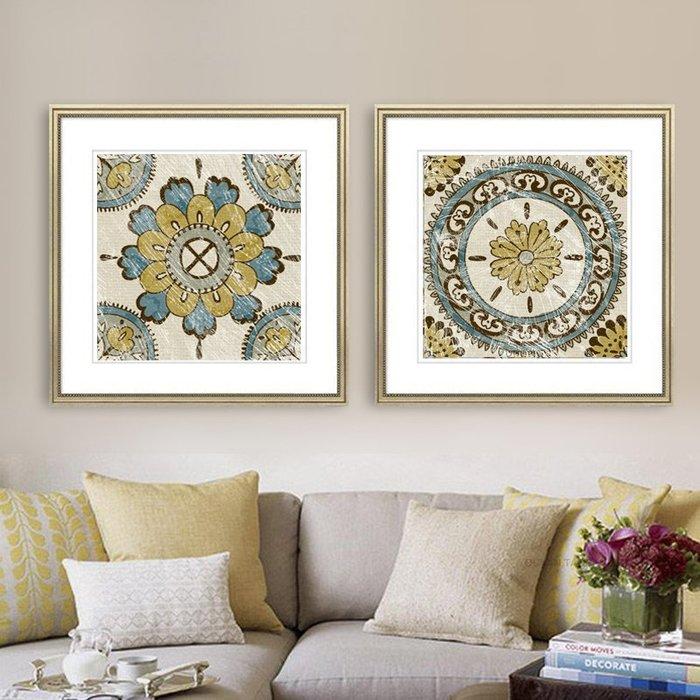 簡約復古抽象形意花紋圖形客廳臥室裝飾畫芯高清微噴打印壁畫(2款可選)