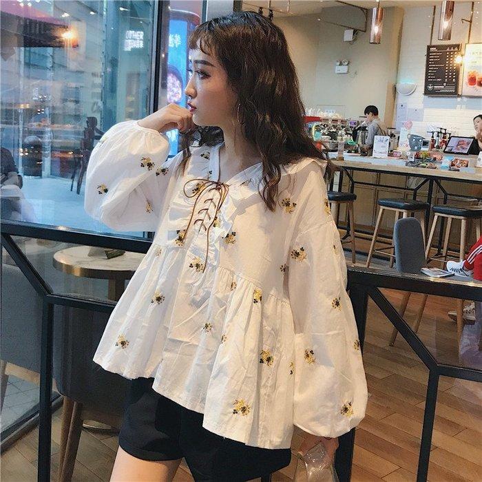 小香風 短袖T恤 時尚穿搭 法式心機設計感 韓版 蓬蓬娃娃衫上衣超仙下擺系帶復古小碎花襯衫女