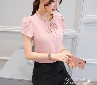 ZIHOPE 短袖襯衫-漫娜兒2019春夏裝新款韓版甜美短袖雪紡襯衫女裝白色時尚襯衣上衣ZI812