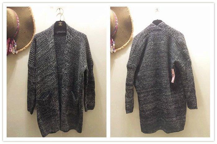 【NAINAIS】YY 8187 韓版 花灰超修身寬鬆顯瘦口袋長袖長版開衫針織外套 2色現+預 促銷450