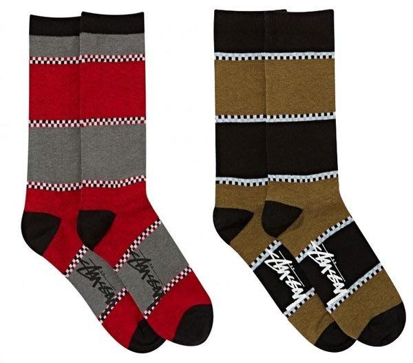 【 超搶手 】全新正品 2014 春季 最新 STUSSY CHECK STRIPE SOCKS 格子 條紋 襪子 紅色 軍綠