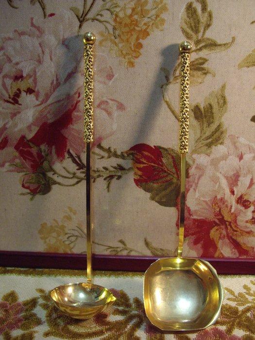 歐洲古物時尚雜貨 金色湯匙 長匙大勺 餐具 擺飾品 古董收藏 二件一組