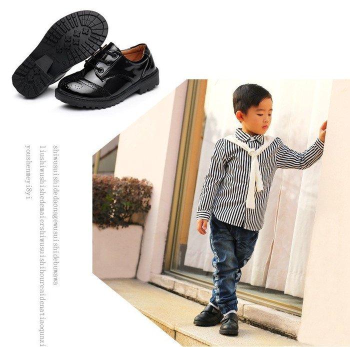 兒童皮鞋童鞋黑色黑白色表演鞋英倫休閒綁鞋帶小皮鞋~42碼☆百變花 yang☆