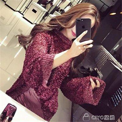 日和生活館 秋季新款閃光絲韓版寬鬆喇叭袖鏤空針織衫短款亮絲毛衣罩衫女薄款S686