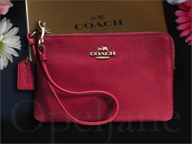 COACH 黑紅紫色防刮真皮手拿包手腕包有卡片夾層袋 可放 iphone 5 6 7 手機精緻應禮盒裝 愛COACH包包