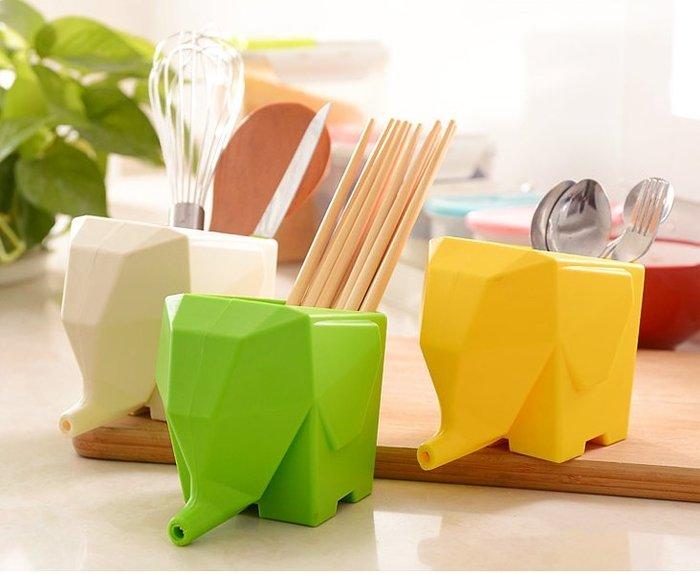 生活創意小物 創意可愛小象造型瀝水器 大象瀝水收納盒 收納架 瀝水盤 筷子筒 盆栽 筆筒 餐具收納 牙刷架 【HA20】
