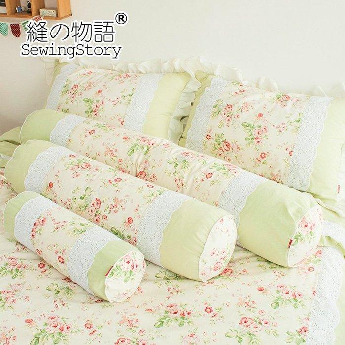 田園系列之經典玫瑰棉麻 護頸枕 頸椎枕 圓形保健枕 糖果枕