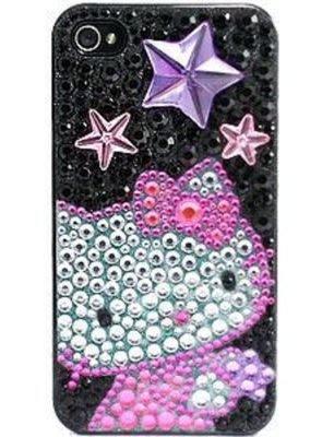 *凱西小舖*日本進口三麗歐正版KITTY凱蒂貓I-PHONE 4/4S水鑽保護殼*出清特價