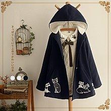 【5023】外套  日系森女小貓印花加絨加厚連帽毛呢外套☆*藍荳荳小舖*☆ (現貨)