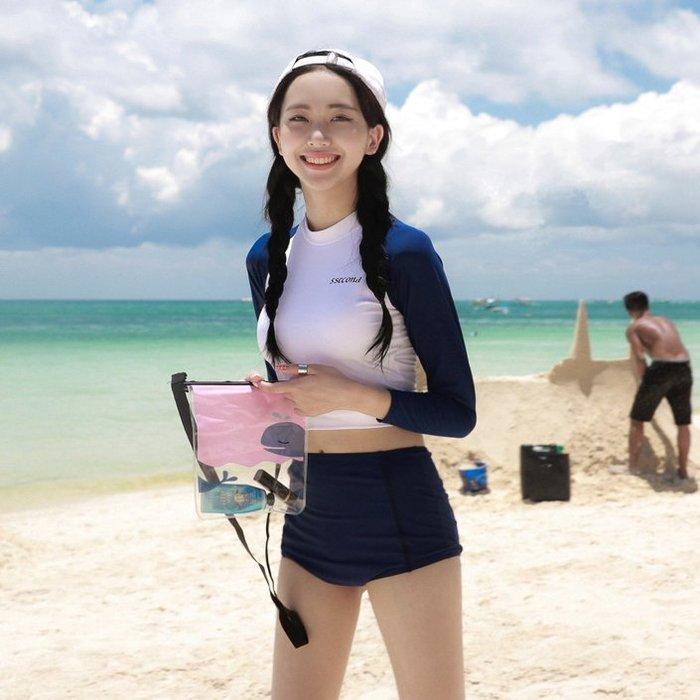 東大門平價舖  韓國女長袖水母服  氣質赫本風  高腰防曬防磨泳衣