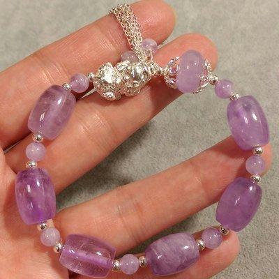 薰衣草水晶手鍊 925純銀貔貅 紫水晶設計款 棍珠10mm 紫玉水晶
