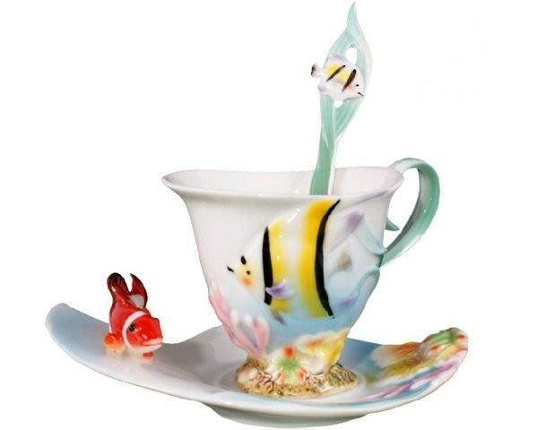 5Cgo【鴿樓】琺琅瓷 12787250443 熱帶魚尼莫 陶瓷杯盤匙組 (一組) 花茶杯 咖非杯下午茶