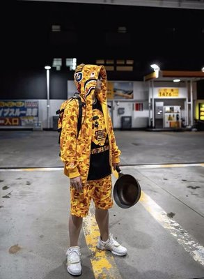 BAPE x PUBG Shark Full Zip Hoodie Orange