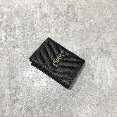 YSL 短夾 卡包 銀釦 黑色《精品女王全新&二手》