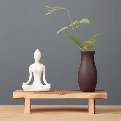 陶瓷瑜伽人物小花器玻璃紫砂瓶水培花插茶寵擺件家居客廳裝飾擺設