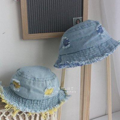 【媽媽倉庫】丹寧抓破遮陽漁夫帽 帽子 童帽