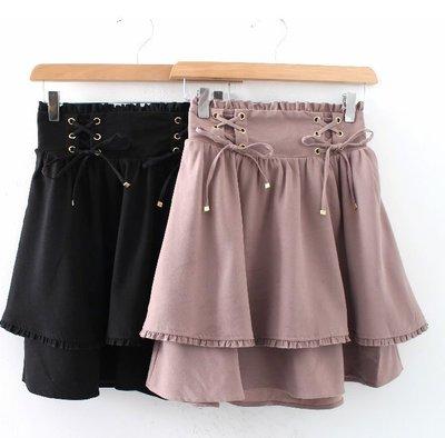 【WildLady】 特 日本氣質交叉綁帶雙層層次短裙 高腰裙AVAIL