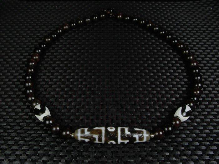 藏珠物流中心 *老礦皮革紋油潤*蓮師法器天珠*短頸鍊*E426