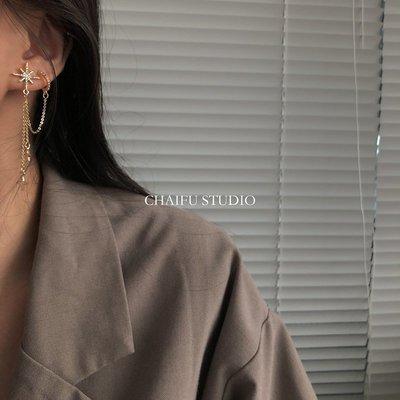 Cool酷兒飾品~阿柴夫#R867 S925銀針超仙簡約百搭氣質璀璨鋯石八芒星耳釘耳夾