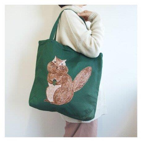 日本m.m繪本家-松尾美雪 手繪刺繡動物厚款棉 肩背手提包 托特 大容量 貓咪 鳥兒 兔子 立體感二面一樣圖案