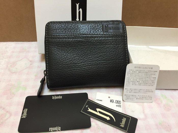 [變身館日本服飾]~Dj Honda~h~拉鏈式~皮革材質~牛革~~短夾~零錢~證件~皮夾~日本購入~全新正版~現品~黑