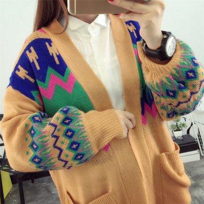 東大門平價鋪   秋裝超大碼女裝,胖MM民族風寬鬆中長款毛衣