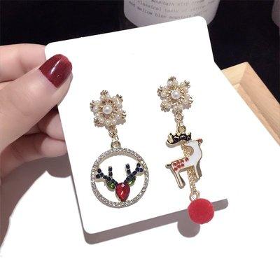 原單小確幸~韓國東大門 珍珠雪花寶石麋鹿不對稱質感耳環  //現貨特價129