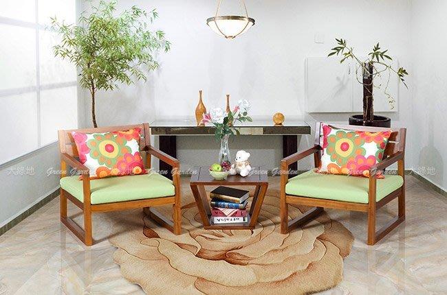 ◎ 大綠地柚木家具 柚木沙發 改款特賣 絕版降價【 紐約單人沙發 雙椅 組 - 含邊桌 】柚木傢俱 印尼柚木 ◎