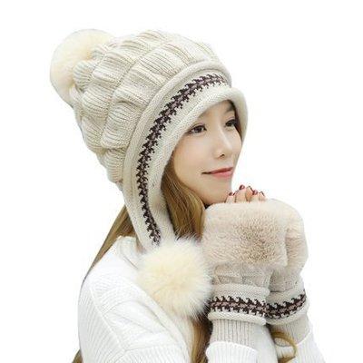東大門平價鋪  女韓版百搭甜美可愛針織毛線帽,冬季保暖加厚護耳兔毛帽, 內裡加絨保暖,(手套+帽子)